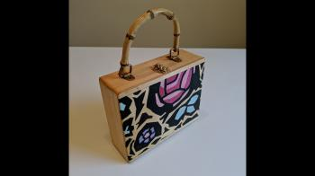 "Hand-painted Wood Box Purse (Marimekko ""Abstract Floral"") - Fashion Accessories"