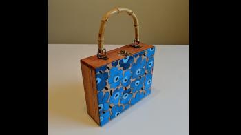 "Hand-painted Wood Box Purse (Marimekko ""Unikko"") - Fashion Accessories"