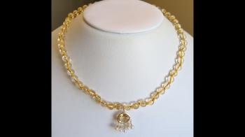 Vintage 14K Gold Citrine Pendant & Beaded Necklace - Sold Items