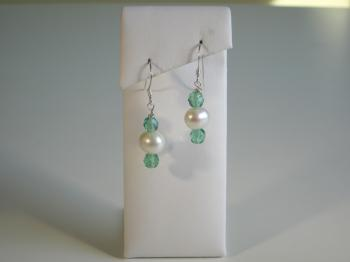 White Freshwater Pearl & Seagreen Crystal Earrings - Earrings