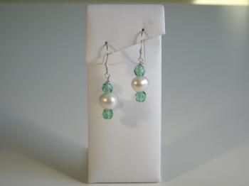 White Freshwater Pearl & Seagreen Crystal Earrings - Earrings