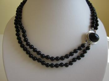 Two-Strand Black Onyx Necklace with Oval Sterling Silver Clasp - Necklaces