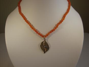 Orange Carnelian Necklace with Vintage Flame Pendant - Vintage Creations