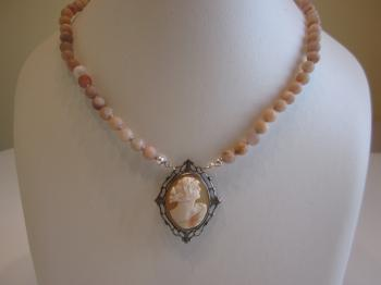 Antique Cameo & Sunstone Beaded Necklace by Vintage Creations