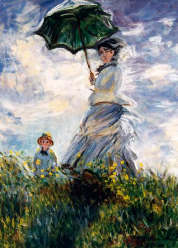 Woman with a Parasol apres Claude Monet - Marsha Tarlow Steinberg