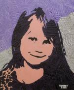 Girl With Purple And Gray Background