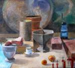Still life with Tea Cup and Oranges, 22 x 24 inches, oil on linen - Peter Colquhoun